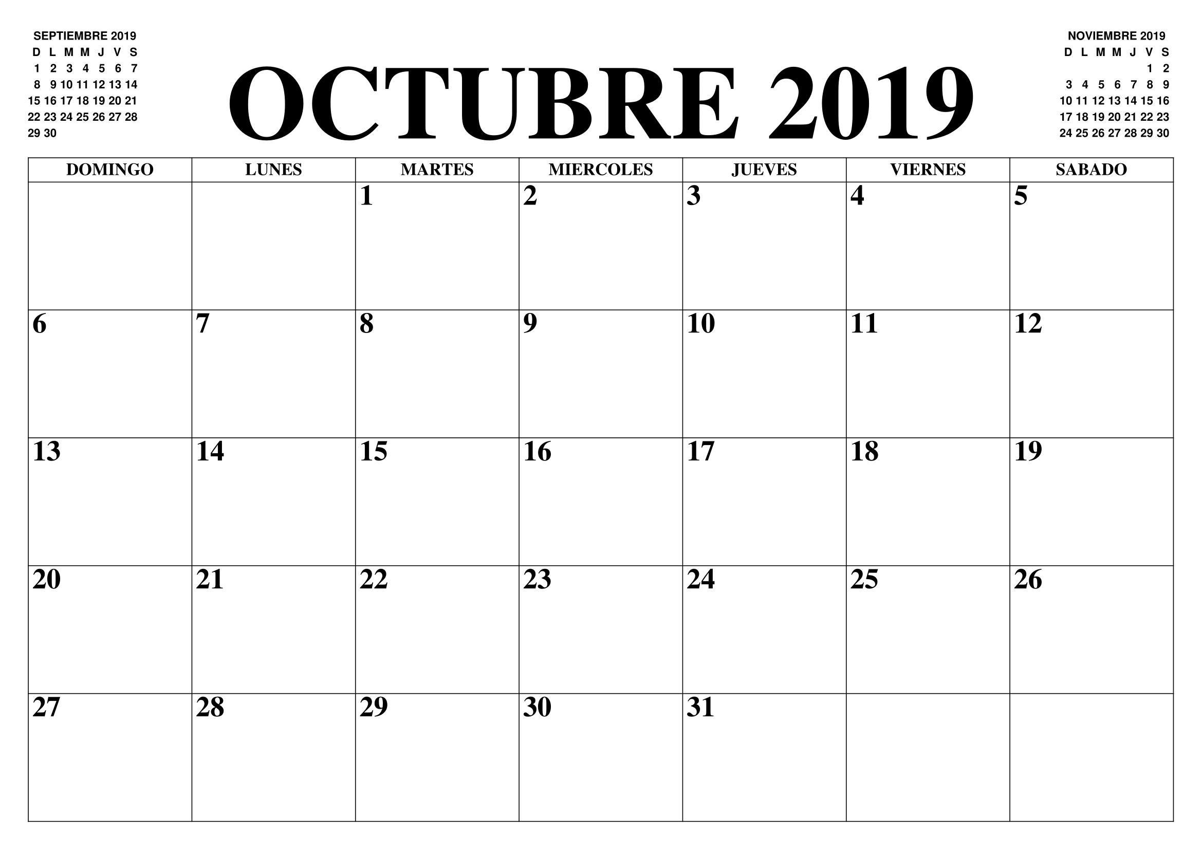 Calendario octubre 2019 con días festivos