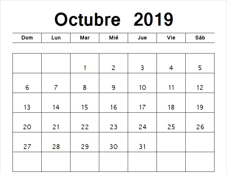 Calendario octubre 2019 con notas