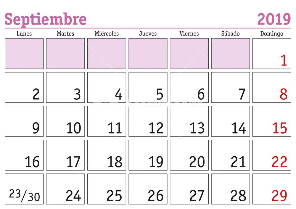 Calendario septiembre 2019 con notas