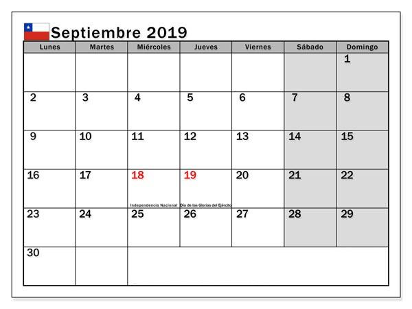 Calendario septiembre 2019