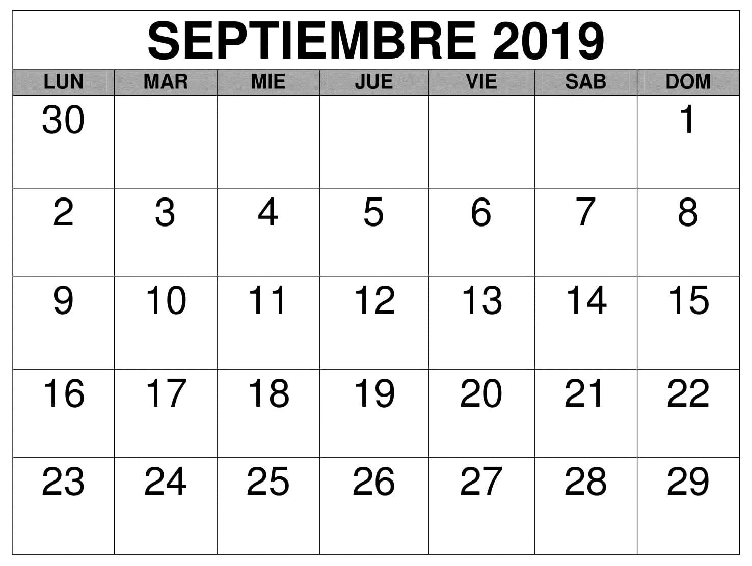 Calendario septiembre de 2019 con días festivos