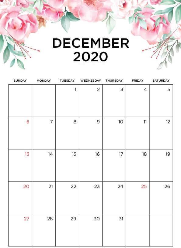 Cute December 2020 Floral Calendar