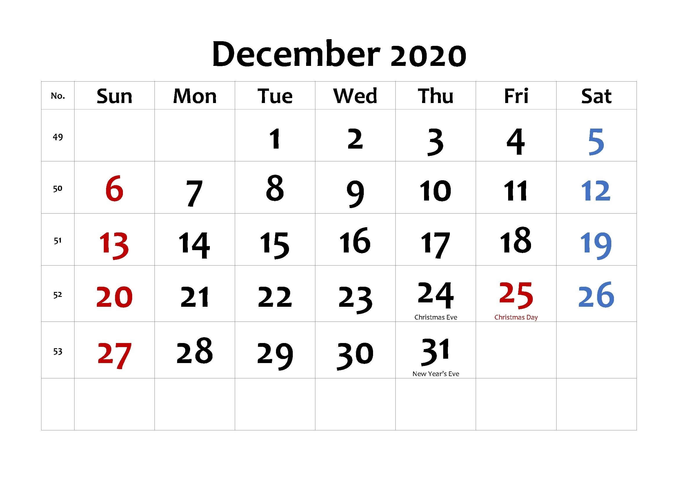 December 2020 Calendar Word