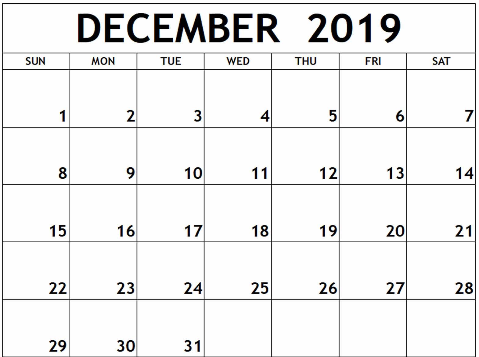 December Calendar 2019 Excel