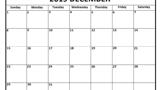 December Calendar 2019 PDF