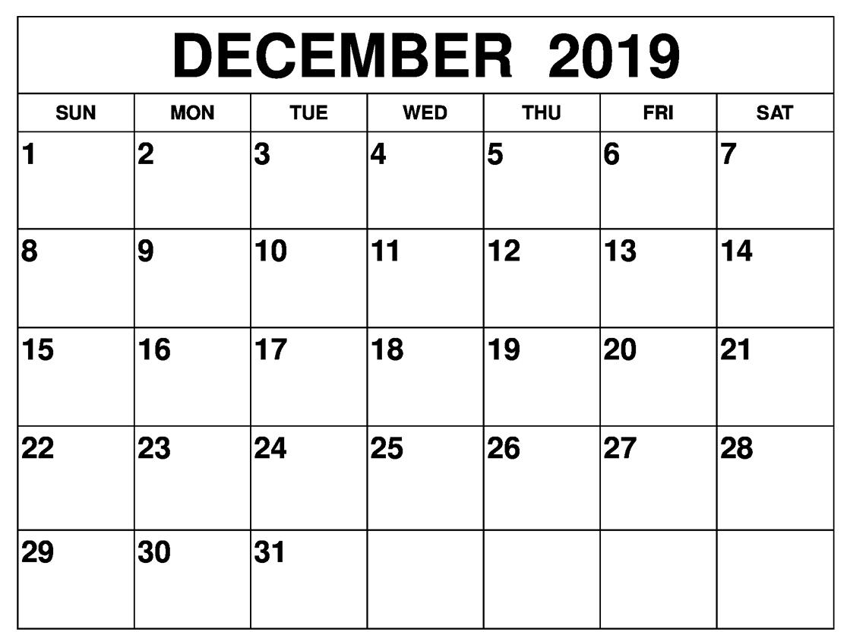 December Calendar 2019 Word