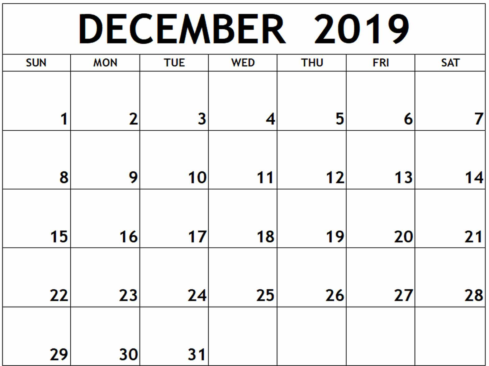 picture about Printable Monthly Calendar December identified as December Calendar 2019 Printable Template PDF, Term, Excel