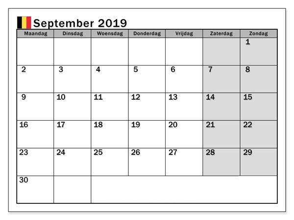 Druckbare September 2019 Kalender