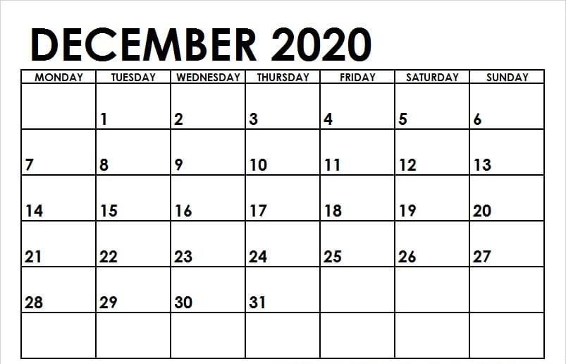 Editable December 2020 Blank Calendar