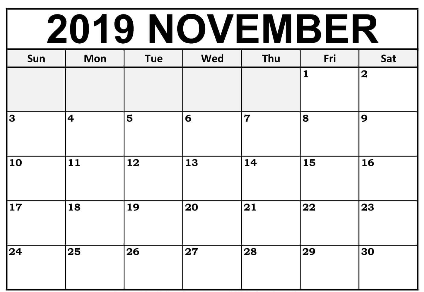 Fillable November 2019 Blank Calendar