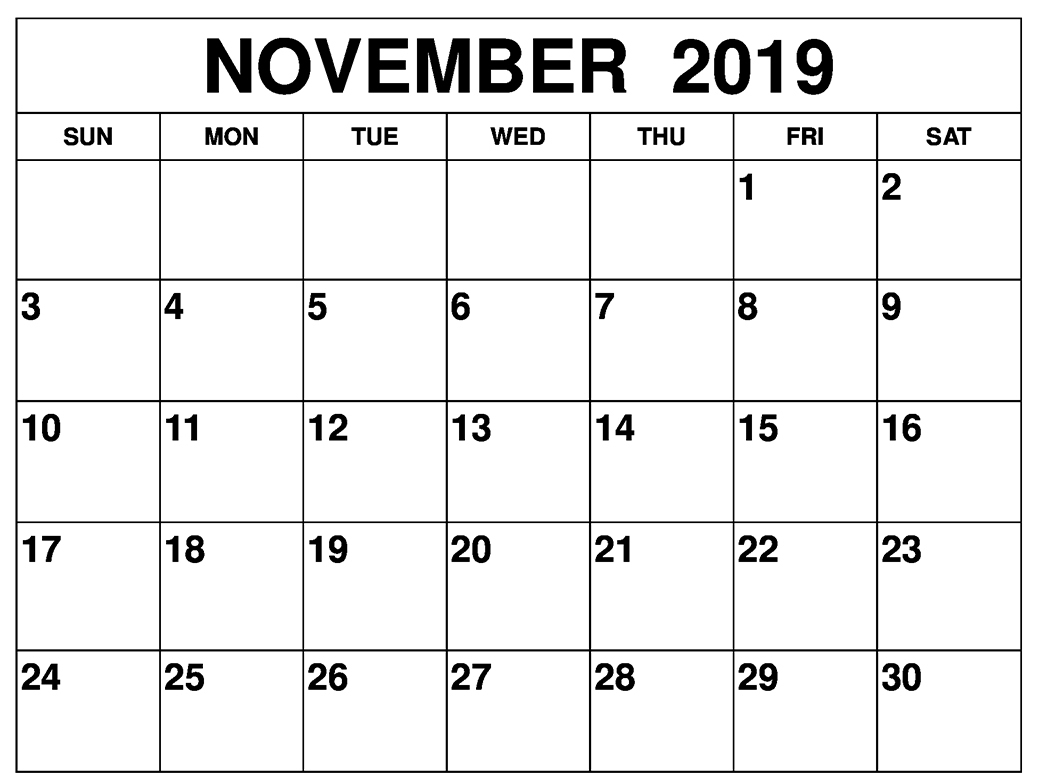 Fillable November 2019 Calendar Printable