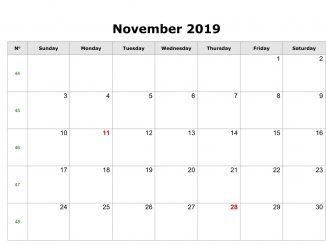 Fillable November 2019 Calendar Template