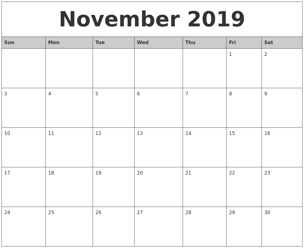 Fillable November 2019 Monthly Calendar