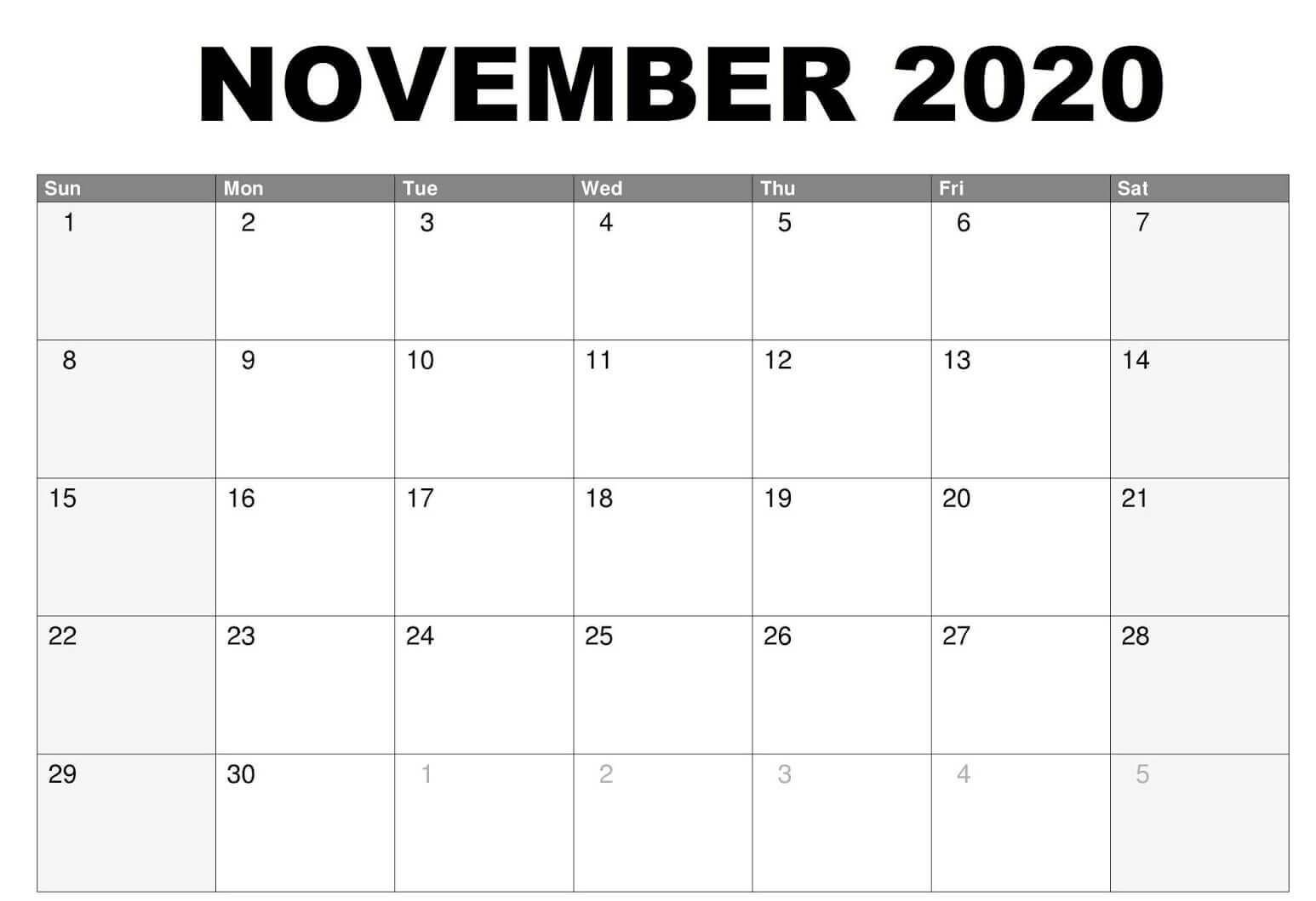 Fillable November 2020 Calendar Printable