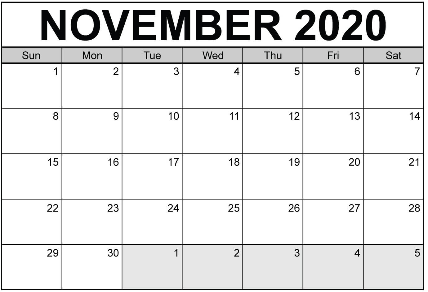 Fillable November 2020 Calendar Template