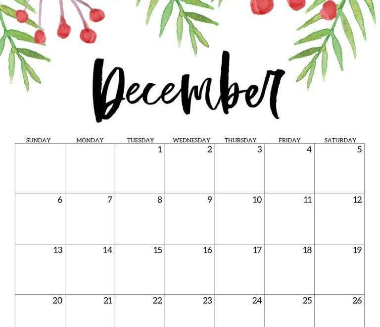 Floral December 2020 Cute Calendar