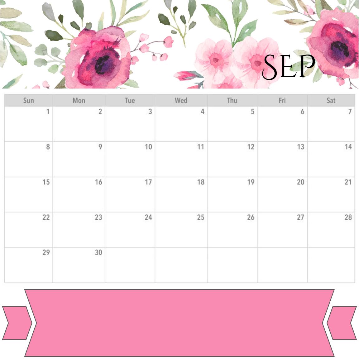 Floral September 2019 Calendar