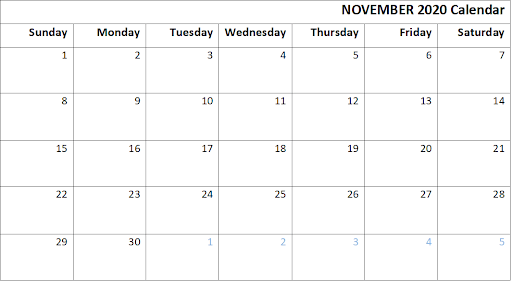Free November Editable Calendar 2020