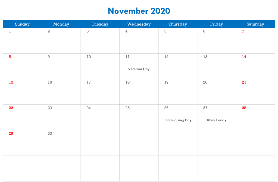 Free Printable November 2020 Calendar Editable