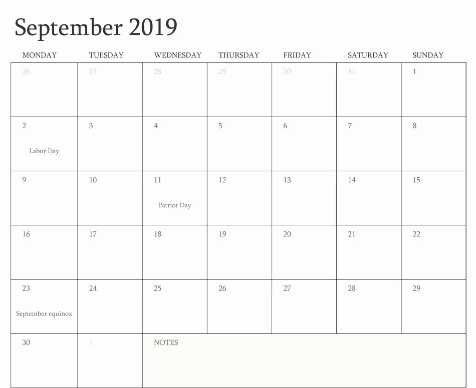 Free Printable September 2019 Kalender