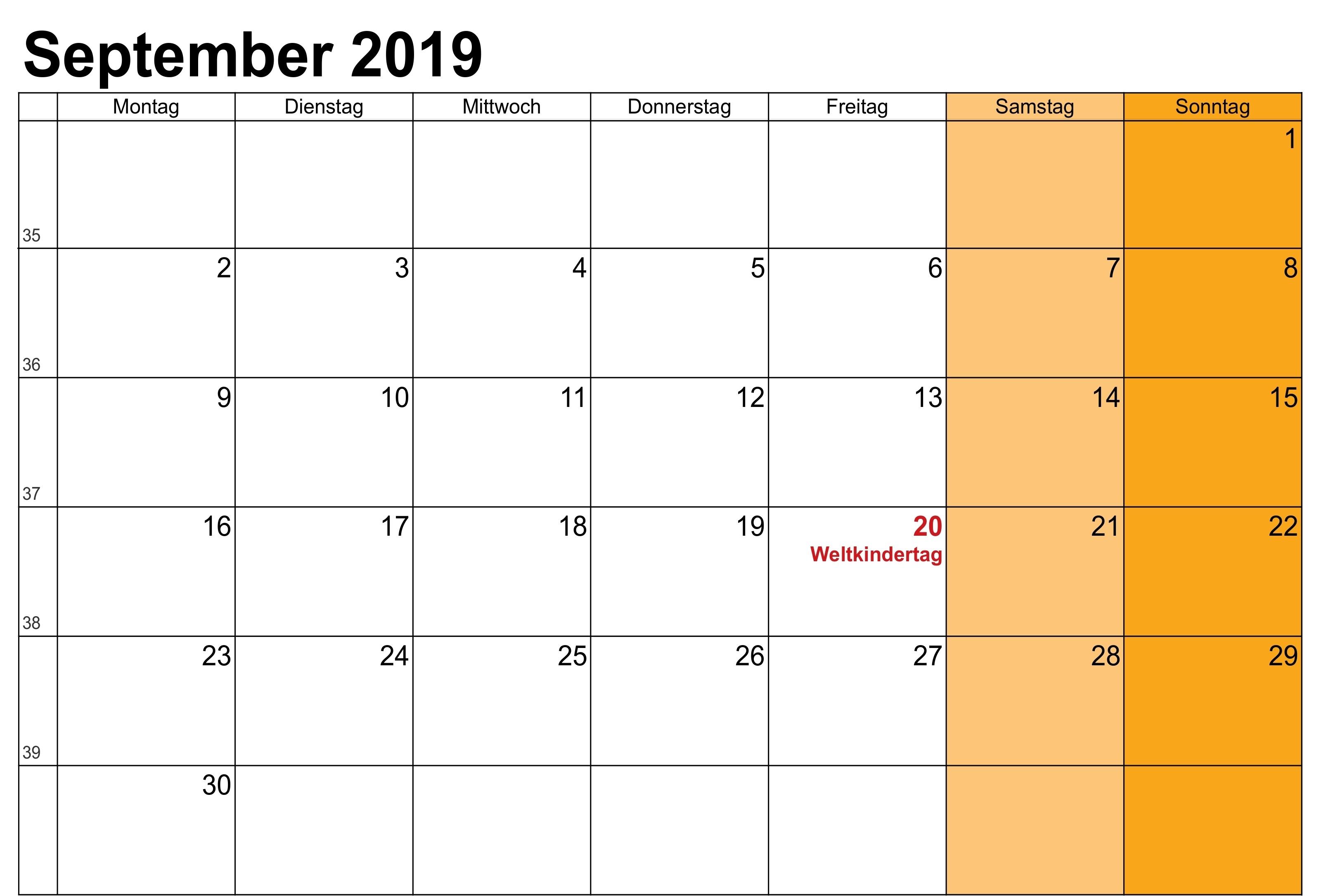 Leerer Kalender für September 2019