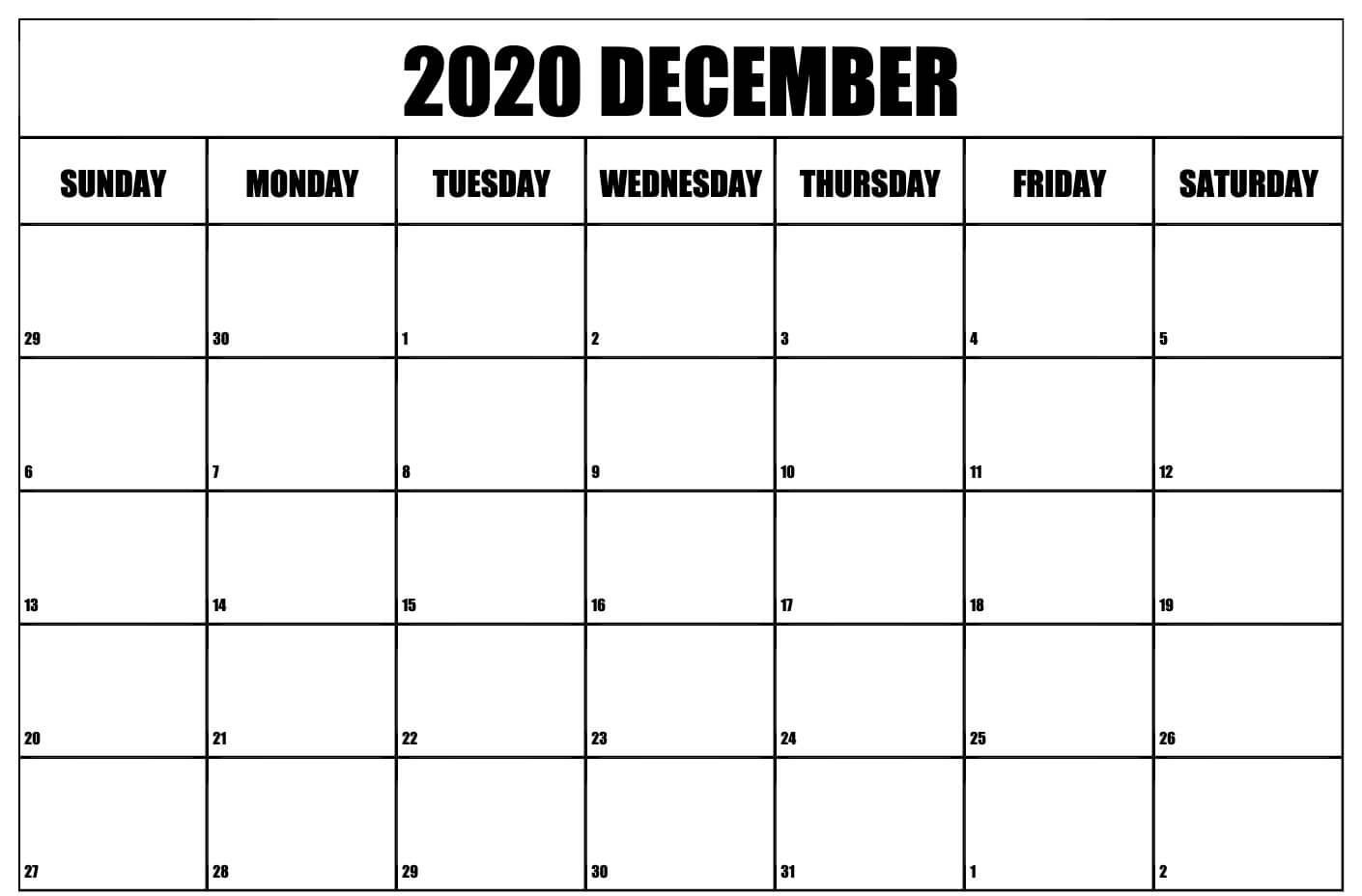 Monthly Blank Calendar December 2020
