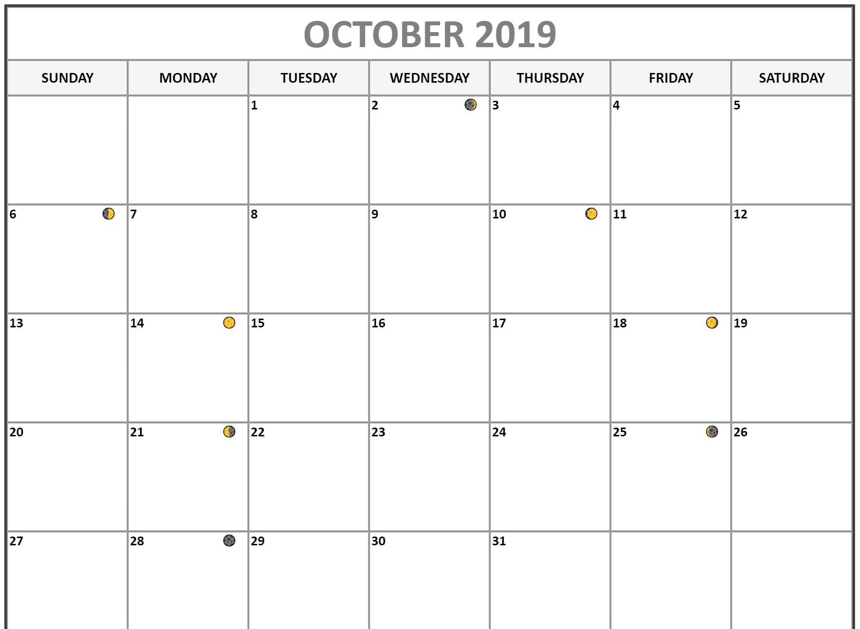 Moon Phases Calendar for October 2019 Printable