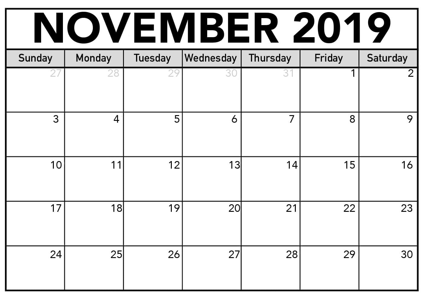 November 2019 PDF Calendar With Holidays