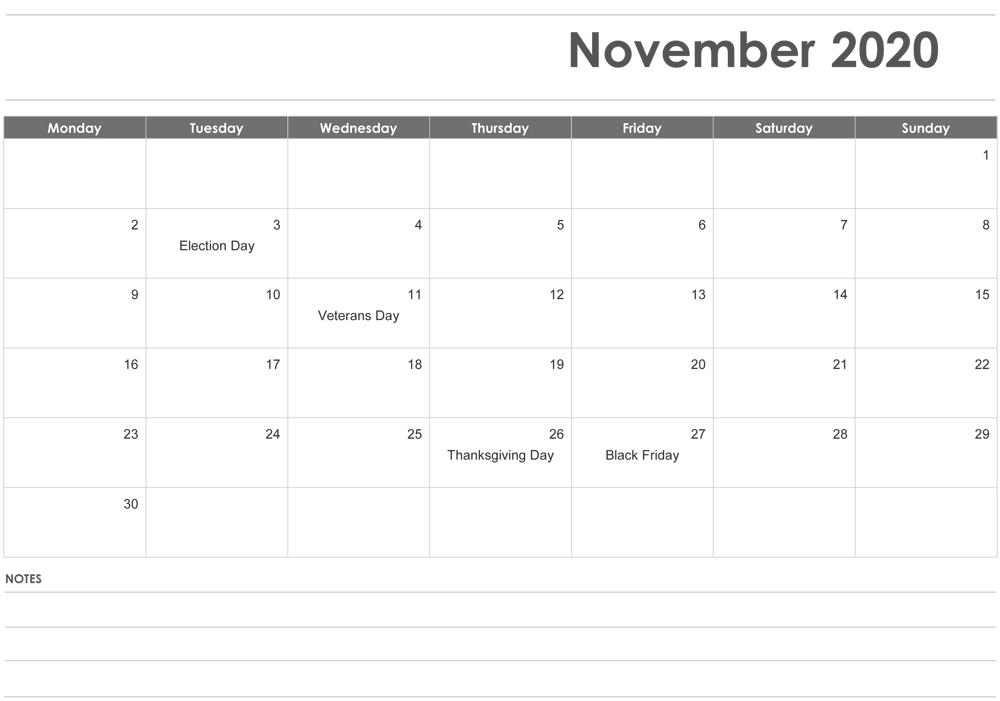 November 2020 Calendar Fillable