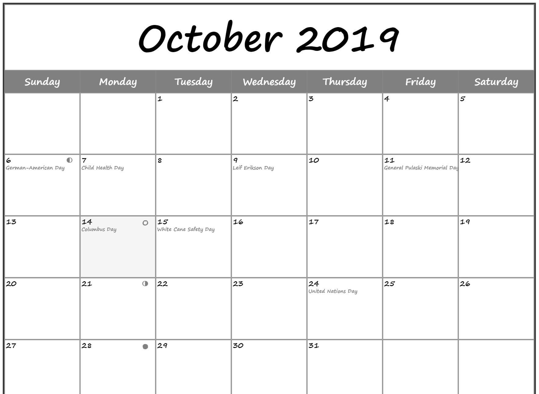 October 2019 Calendar Moon Phases With Holidays