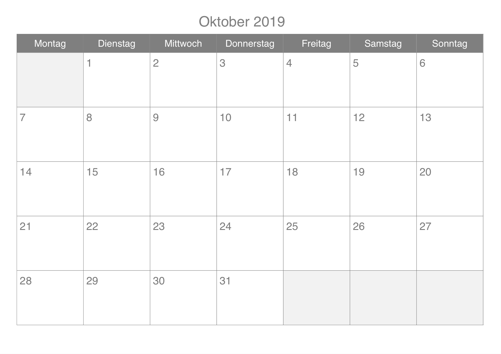 Oktober 2019 Kalender leer