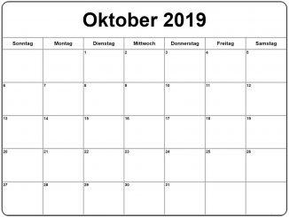 Oktober 2019 Kalender zum ausdrucken