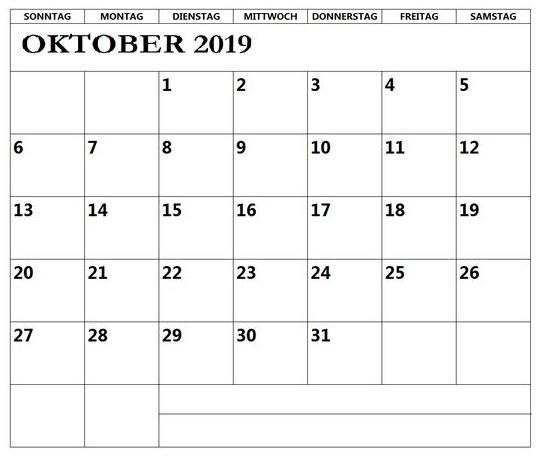 Oktober Kalender 2019