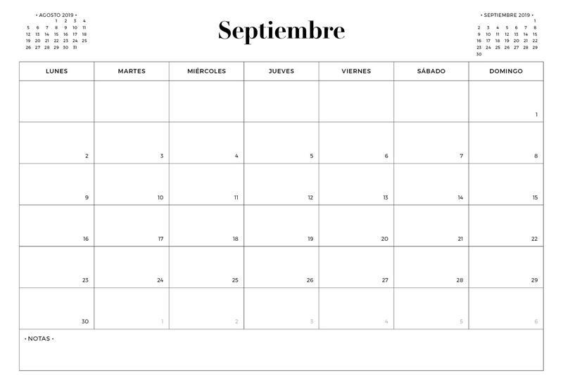 Plantilla Calendario 2019 Septiembre