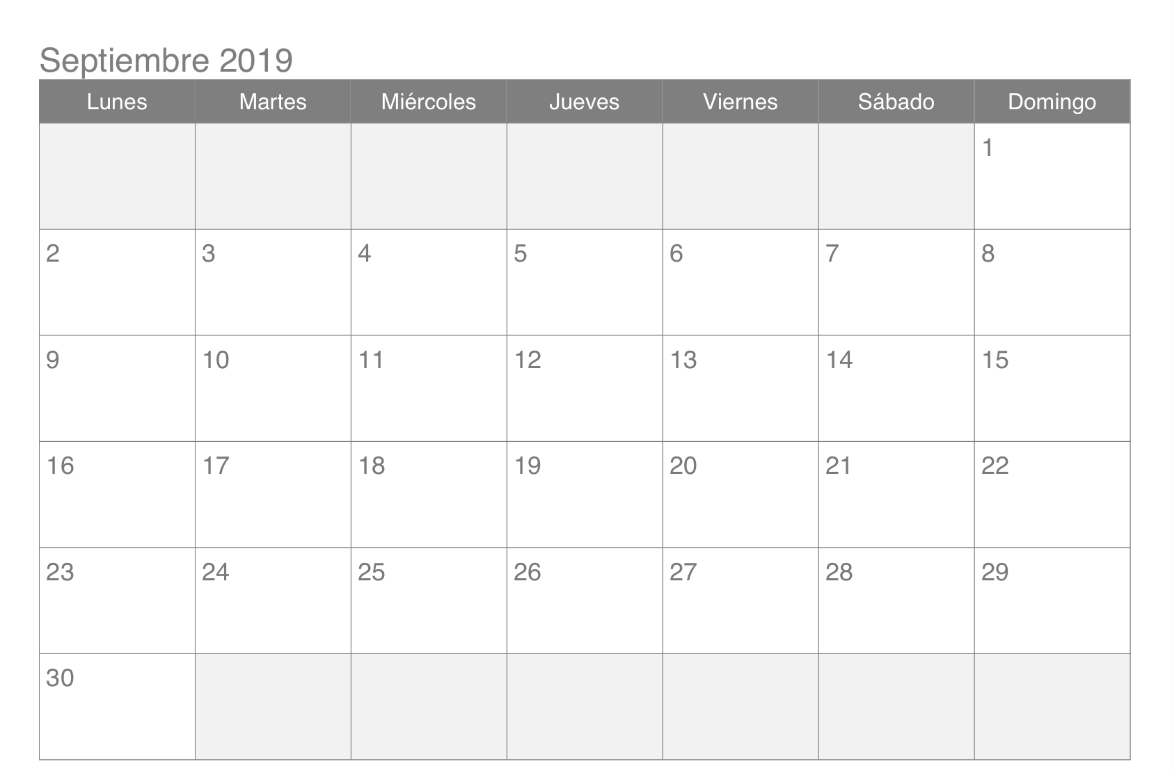 Plantilla de calendario de septiembre de 2019