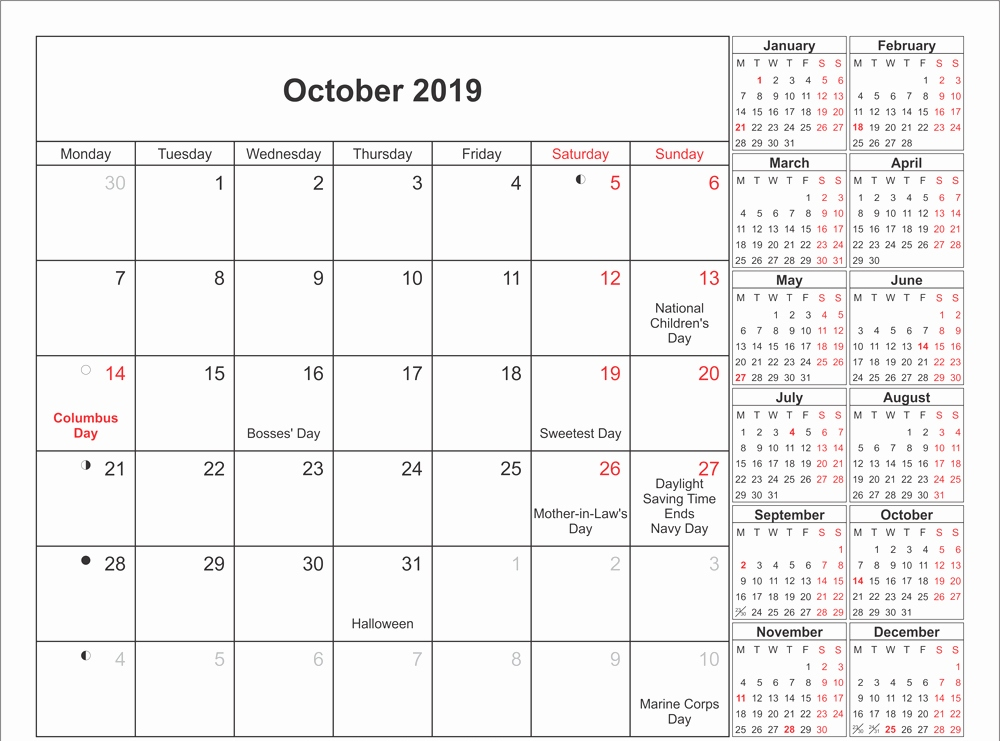 Printable Moon October Calendar 2019