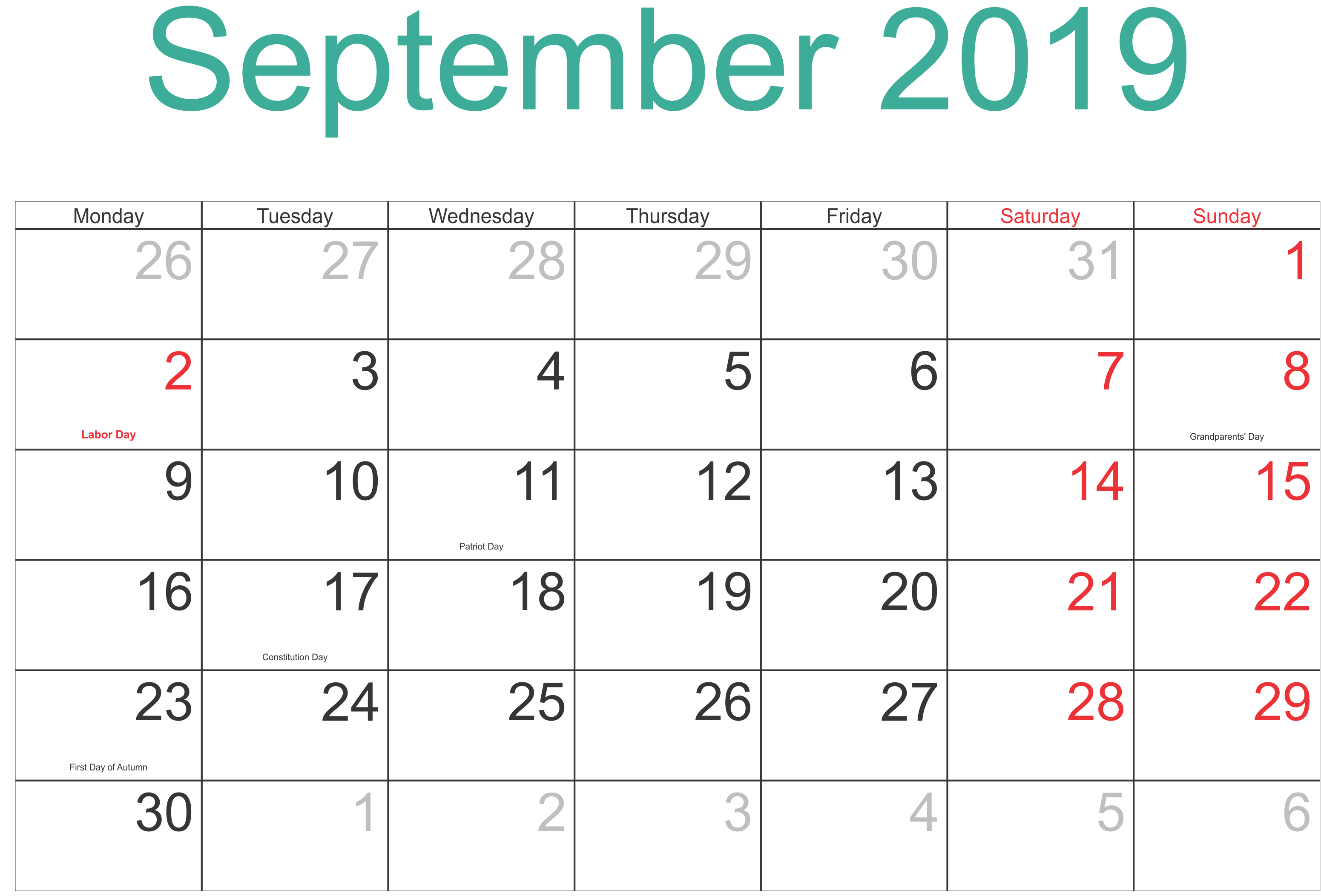 Printable September 2019 Calendar Moon Phases
