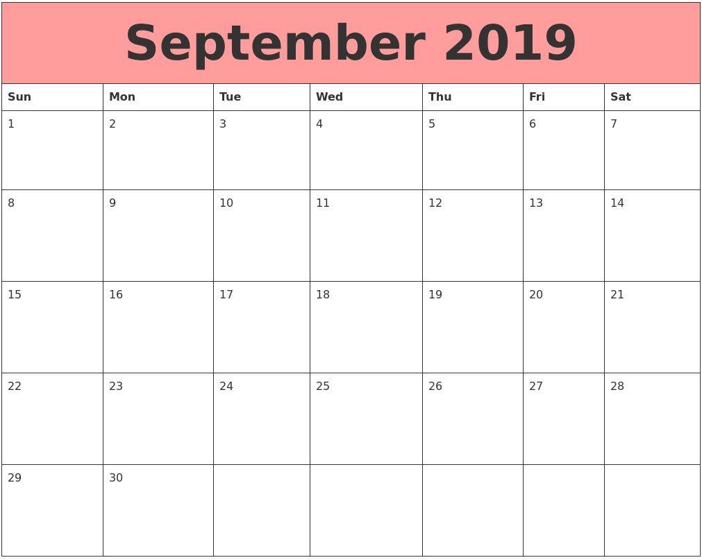 Printable September 2019 Wall Calendar