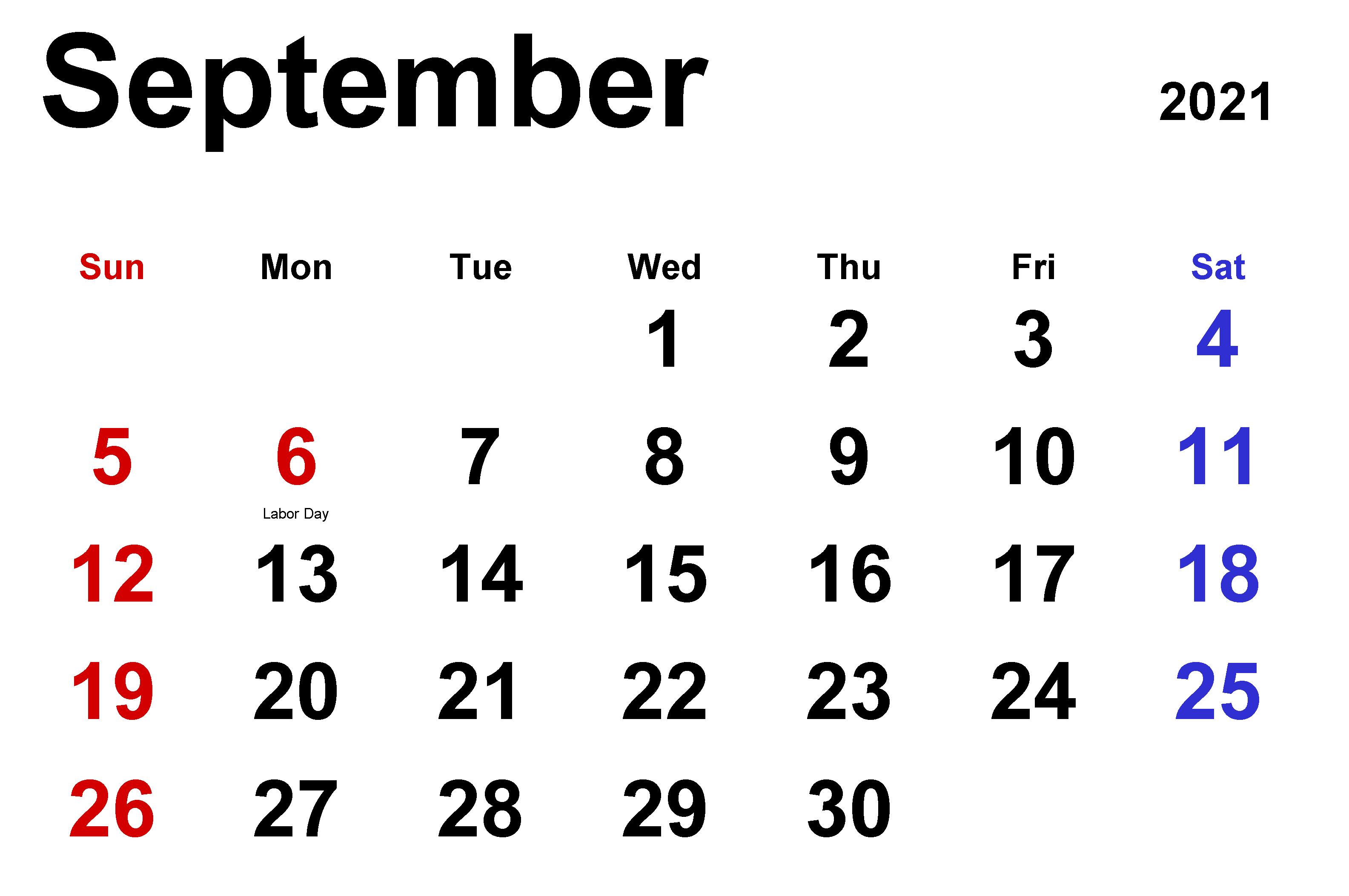 Printable September 2021 Desktop Calendar