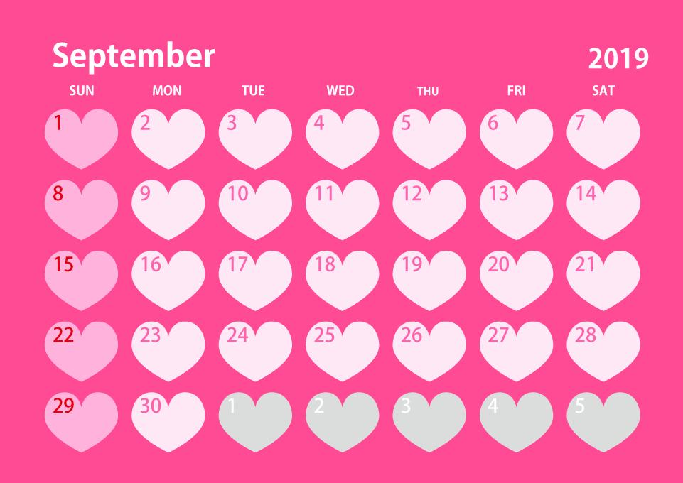 September 2019 Calendar Pink