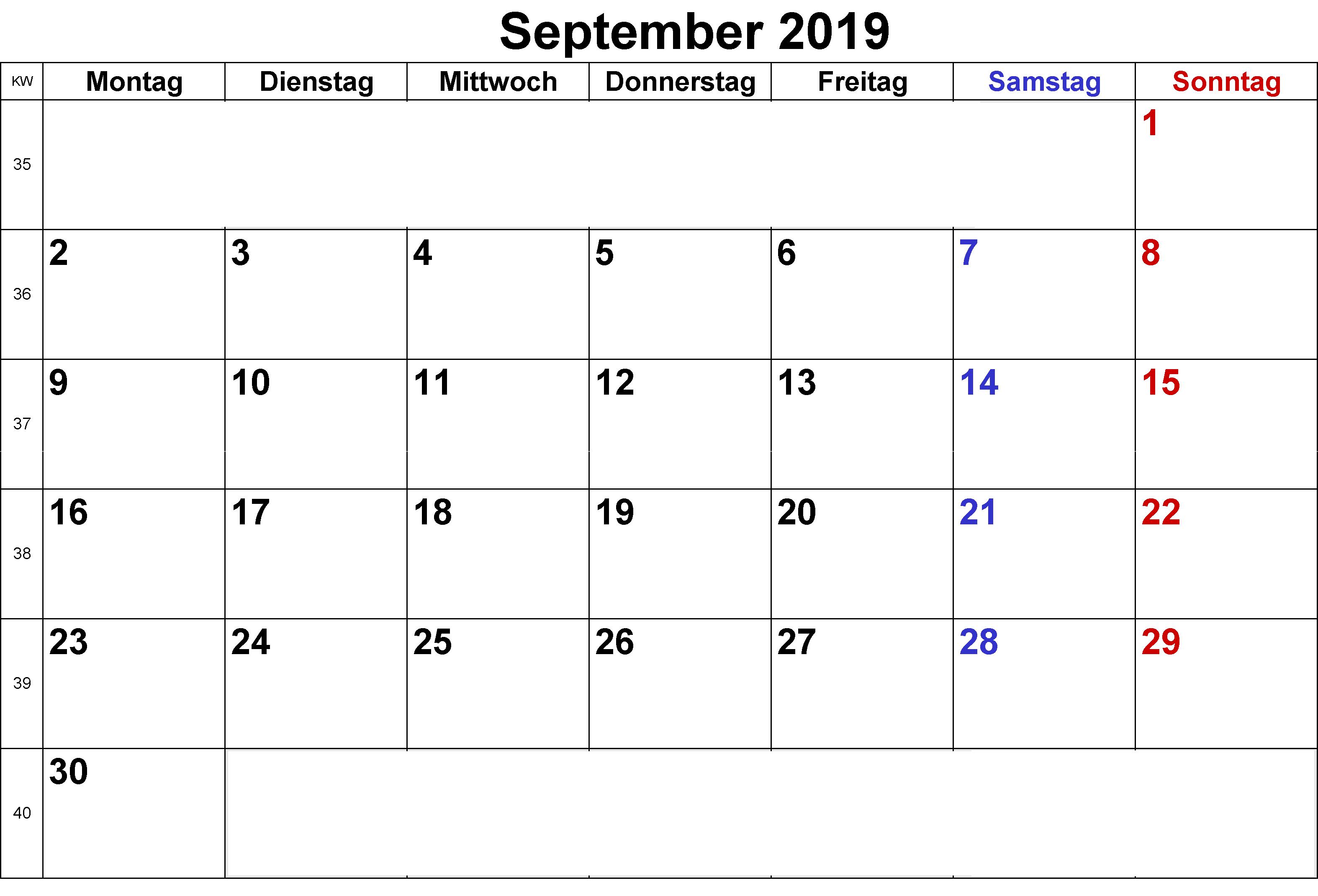 September 2019 Kalender Excel