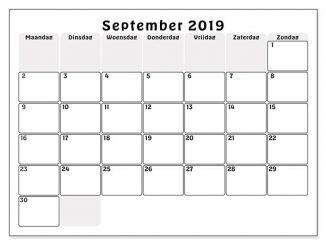 September 2019 Kalender zum ausdrucken