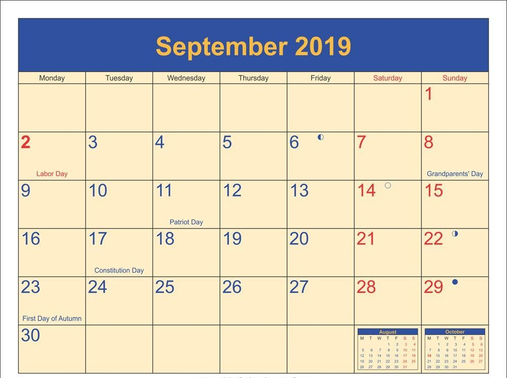 September 2019 Lunar Calendar