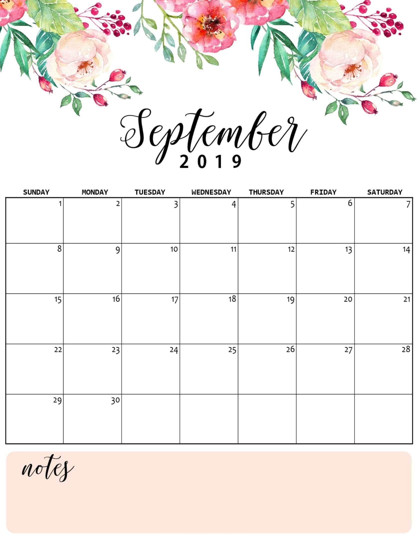 September 2019 Wall Calendar