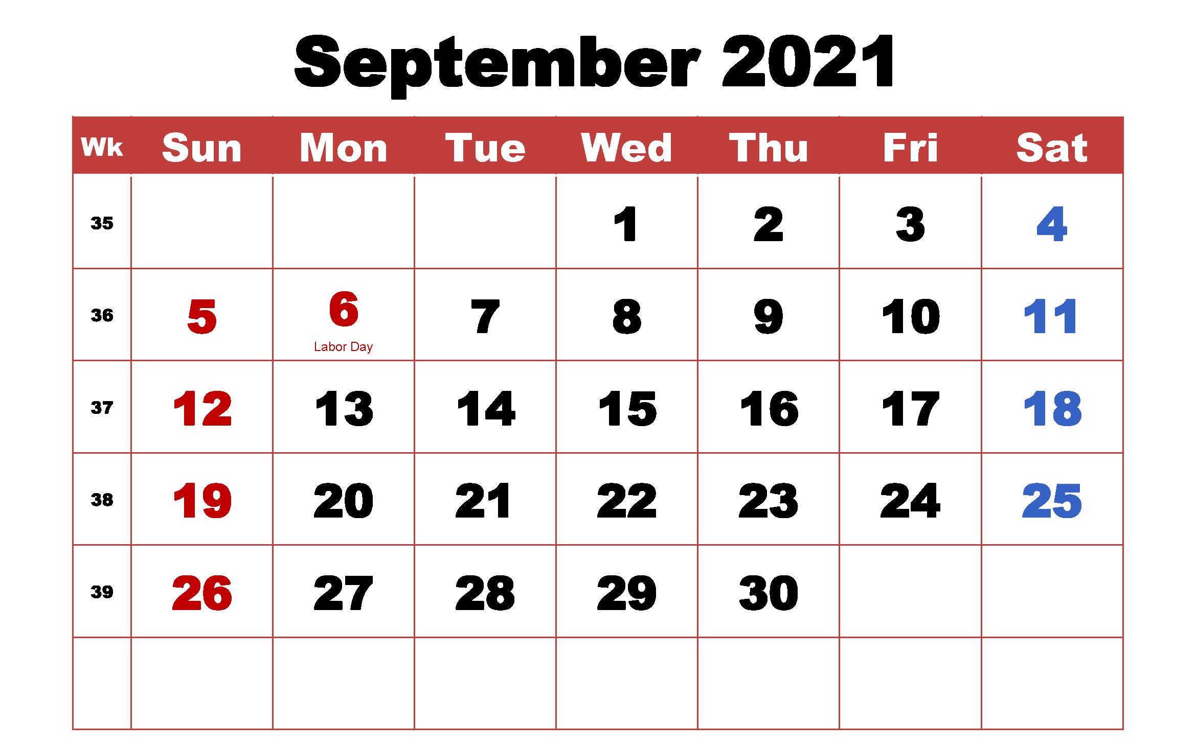 September 2021 Desktop Calendar