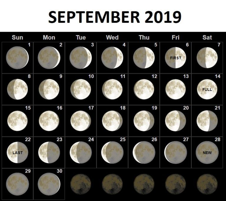 September Calendar 2019 Moon Phases
