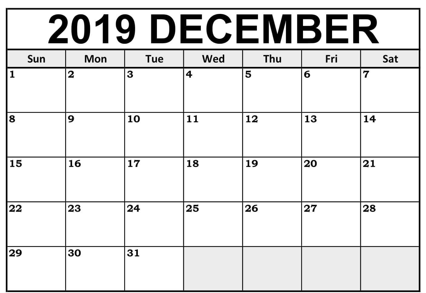 Blank December 2019 Calendar Printable Free