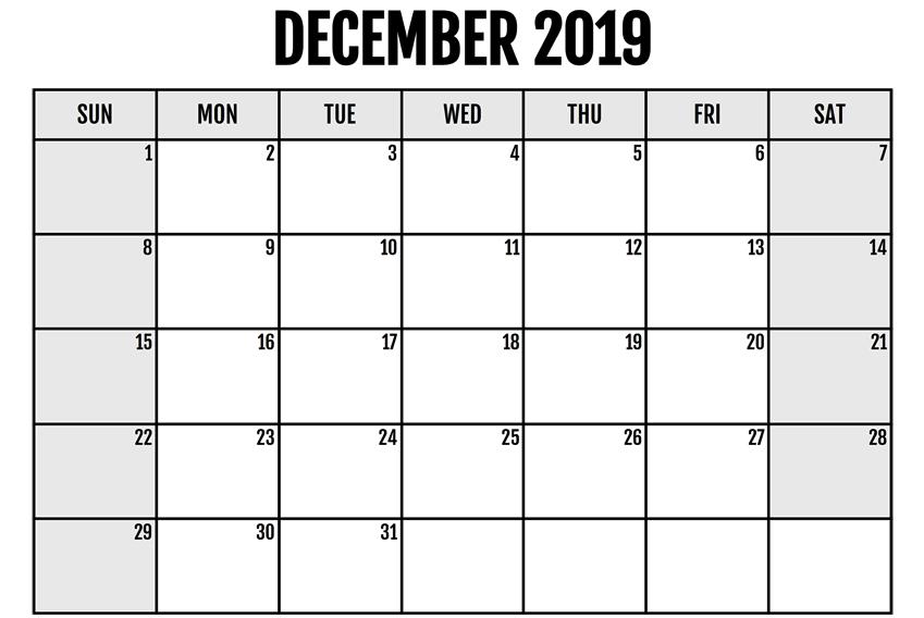 Blank December 2019 Printable Calendar