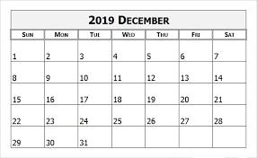 Blank December Monthly Calendar 2019