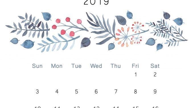 Cute November 2019 Calendar Floral Design